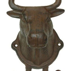 Cast Iron Large Steer Head Wall Mount 2-Hook
